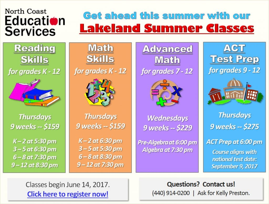 Announcing Our Lakeland Summer 2017 Class Schedule!